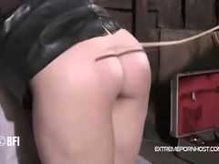 Scared mature wife gets severely punished by her dominant husband. He take his bitch to their barn and starts to cane her behind.