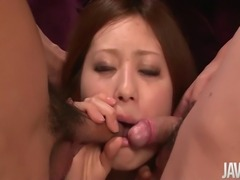 Check out the body on this chick. Pink nipples and pretty pussy! Ruri Haruka grabs cock and tongues the shaft. She licks the tip and sucks it in her mouth for a sexy blowjob. Vacuum sucking oral action, using her mouth to the fullest. Cock can't hold back cum and blasts a load in her mouth.