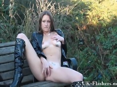 Sexy English MILF Randy masturbating outdoors and flashing her local neighborhood park for pure exhibitionist pleasure
