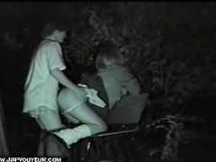 Extended version of Japanese teens in park nightvision with audio