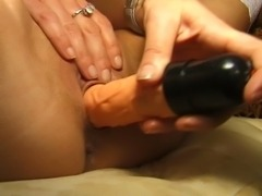Unbelievable Brunette hot  with round ass toys her cock craving pussy.