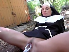 Innocent looking nun is a cock hungry slut as she rides that hard cock and swallows all the cum at the end.