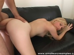 Beautiful Blonde wild in bed getting her pussy creampied.  Another xclusive Content from AmateurCreampies.com.