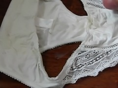 Fresh load for Mom&amp;amp;#039;s white panties