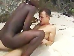 Hairy African Girl fuck Euro guy on beach