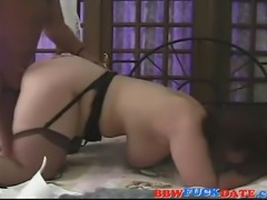 Curvy fat mature wife wearing black stocking and gets fucked hard