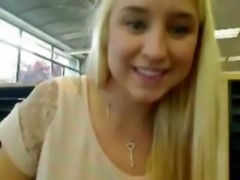 Busty blonde flashes, toys and squirts in a public library