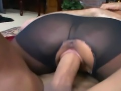 Busty brunette Jenaveve fucking in pantyhose with a ripped out crotch and heels