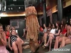 Bitches sucking stripper's pecker