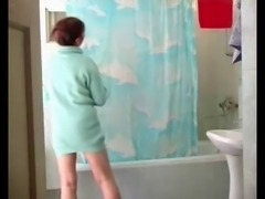 Mom Olga in bathroom