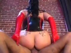 One of my favourite pornstars, Anna Rose, who only ever did a few scenes before early retirement from porn. Here we see her in a really hot latex outfit, getting fucked. Look how much she is sweating by the end... stunning.