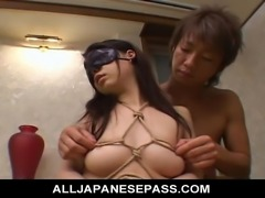 Yuka Osawa is bound and blindfolded in her bedroom her pussy banged hard.