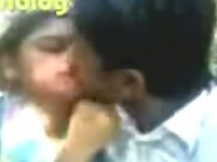 Bengali beauty smooches, her boobs pressed in park, Bengali audio