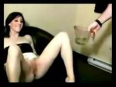 Slut made to drink piss and hard fucked