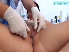 Lucy - gyno exam by male gynecologist. Breasts exam, measures, abdominal exam, heartbeat, pissing and much more!