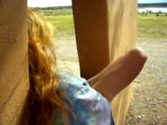 Nature MILF Lady Holly Plays In The Window At The Park