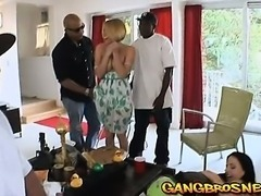 Two hot babes fucked in monster cock double penetration gangbang!