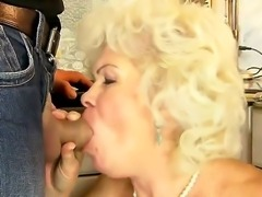 Hot granny named Effie shows her hairy pussy and gets a young dick in the mouth