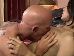 Tall and fascinating shemale Gaby B with long and dangerous cock and plump boobs treats a bald and sexy man with her exceptional charms. He likes to taste this shemales cock.