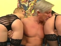 Abbie Cat and Natahlie Von are sharing older guys hard and long cock