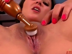 It is never too late for Aimee Black to drop her trou, lie on the back and receive the nicest amount of sexual energy. Her pussy excrete the tasty vaginal secret.