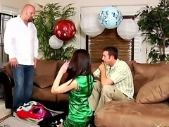 The amazing Asian pornstar Miko Sinz undresses in front of the Jordan Ash and Kenny Brandon,