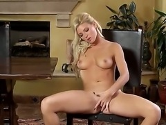 Sultry Niki Young prefers to masturbate on this chair, because its very comfortable