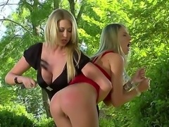 Nice femdom scene with two beautiful busty blondes Danielle Maye and Lexi Lowe would turn you on so much! One of gals is spanking ass of her GF before getting licked.