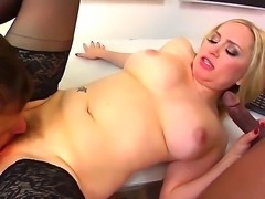 Turned on chubby pale cuckold blonde Aiden Starr with cheep tattoo and big juicy hooters dominates over her pussy eating hubby and takes on stiff black anaconda in front of him.
