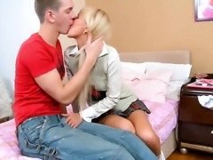 Attractive adorable blonde teen Amiee with