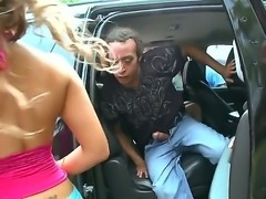 Nena Linda along her best friend Miss Raquel are enjoying one huge dick while riding in car