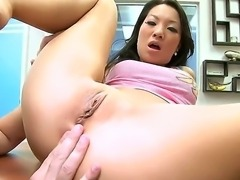 Amazing Asian beauty Asa Akira showing all curved of perfect body ready for frigging