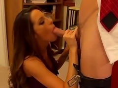 Office banging with Johnny Sins and Kortney Kane would impress you so much! Passionate gal in stockings and high heels gets licked and fucked so nicely by the baldheaded dude.