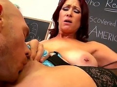 Sexy teacher Tiffany Mynx enjoys having her cunt ravaged by hunk student Johnny Sins