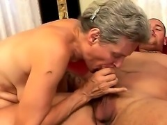 Mature madame Aliz has very sexy young neighbor who always ogles him. The man comes to her place and they have superb sex with fantastic blowjob and pussy licking.
