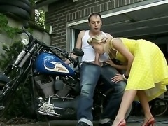 Big bad Johnny was a rough and tough Rockerbilly. Its the 50s and the closest he got to loving a girl was with the beautiful blonde Chary Kiss. She also loved to suck on his hot rod and she would lay on his motorbike as he shoved his big dick up her wonderfully tight ass hole.