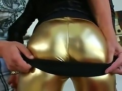 Pretty ebony doll Diamond has the gorgeous body with big full tits and unbelievable booty that she is exposing wrapped in golden pants and also nude covered with semen.