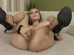 Remarkable and astonishing babe Bianca Golden plunges her playful fingers in her extremely wet pussy. Babe uses three fingers to rub her pussy with hot feelings.