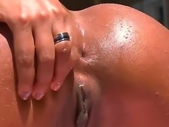 Sexy Leona Yamamoto with her hot oiled body wants lusty Loupan to devour her wet twat