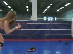 Naughty chicks Lexy Little and Nicole Sweet fighting on the ring for a domination