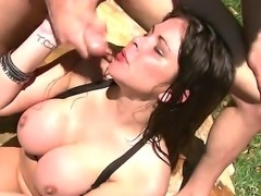 Dirty and hot deepthroating with the facial cumshot at beautiful and seductive whores