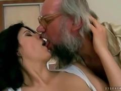 Naughty brunette fucking a grandpa