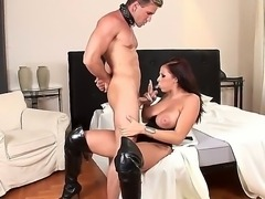 Hot dominant woman with great juggs Gianna Michaels chains her handsome enslaved boyfriend before starting to play with his big already stiff cock using hands and mouth.