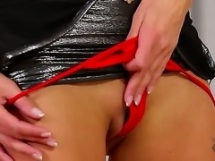 Sweet girl Lena Love shows her sweet shaved pussy and masturbates with her playful fingers