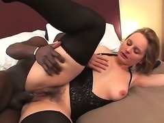 Look at amazing depraved mature Magda having fun with her black friend sucking his hue ebony meat stick