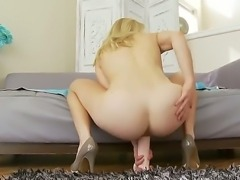 Beautiful Bella Bends has her sweet dildo toy shoved deep down her tight vagina and her tight asshole on camera, screaming loud of pleasure she gets.