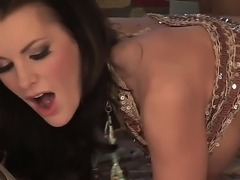 Cock hungry stunning brunette cougar Brandi Edwards with big fake hooters and long whorish nails in stripper shoes pleasures horny tattooed muscled stud with pierced nipples.