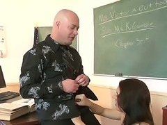 Lustful young teacher likes to have sex fun and giving blowjobs in the classroom