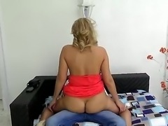 Gorgeous and horny blonde milf with amazing body and sexy bubble butt enjoys in getting her shaved and mature fish lips really wet while playing dirty with a young and sexy guy.