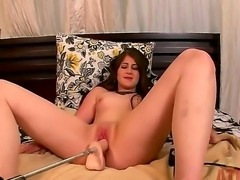 Young and naughty brunette Crissy Cumings uses her sex machine for a hot masturbation
